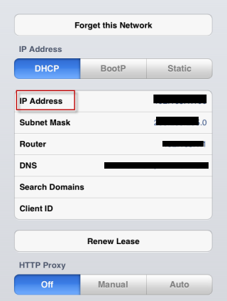 how to change ip address on ipad wifi